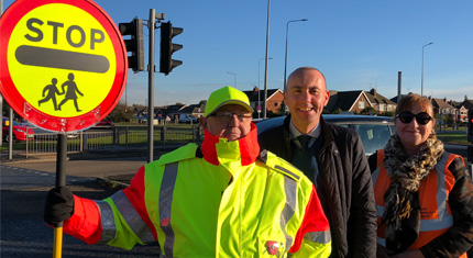 School crossing patrol staff with Cllr Rob Waltham