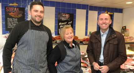 Taylor's Butchers staff and Cllr Rob Waltham in front of butcher's counter