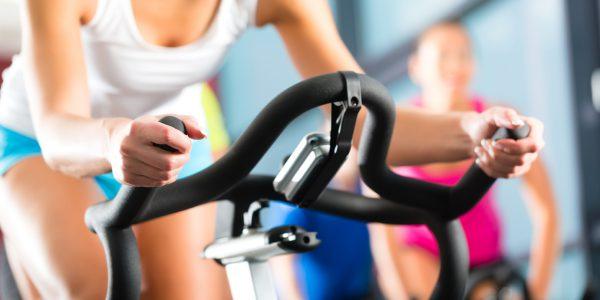 woman on fitness bike