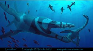 Pliosaur and sharks in water