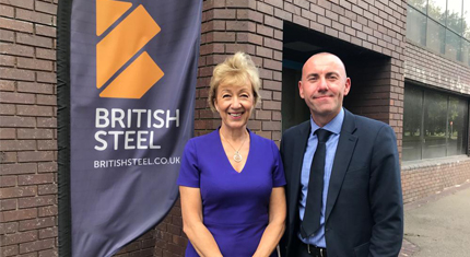 Andrea Leadsom and Rob Waltham at British Steel image