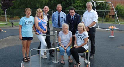 Local councillors meet on the new play equipment in West Halton