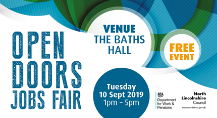 The Open Doors jobs fair will take place at The Baths Hall on Tuesday 10 September 2019.