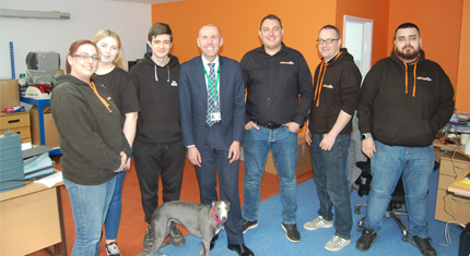 Cllr Rob Waltham meets staff at Infocus ID