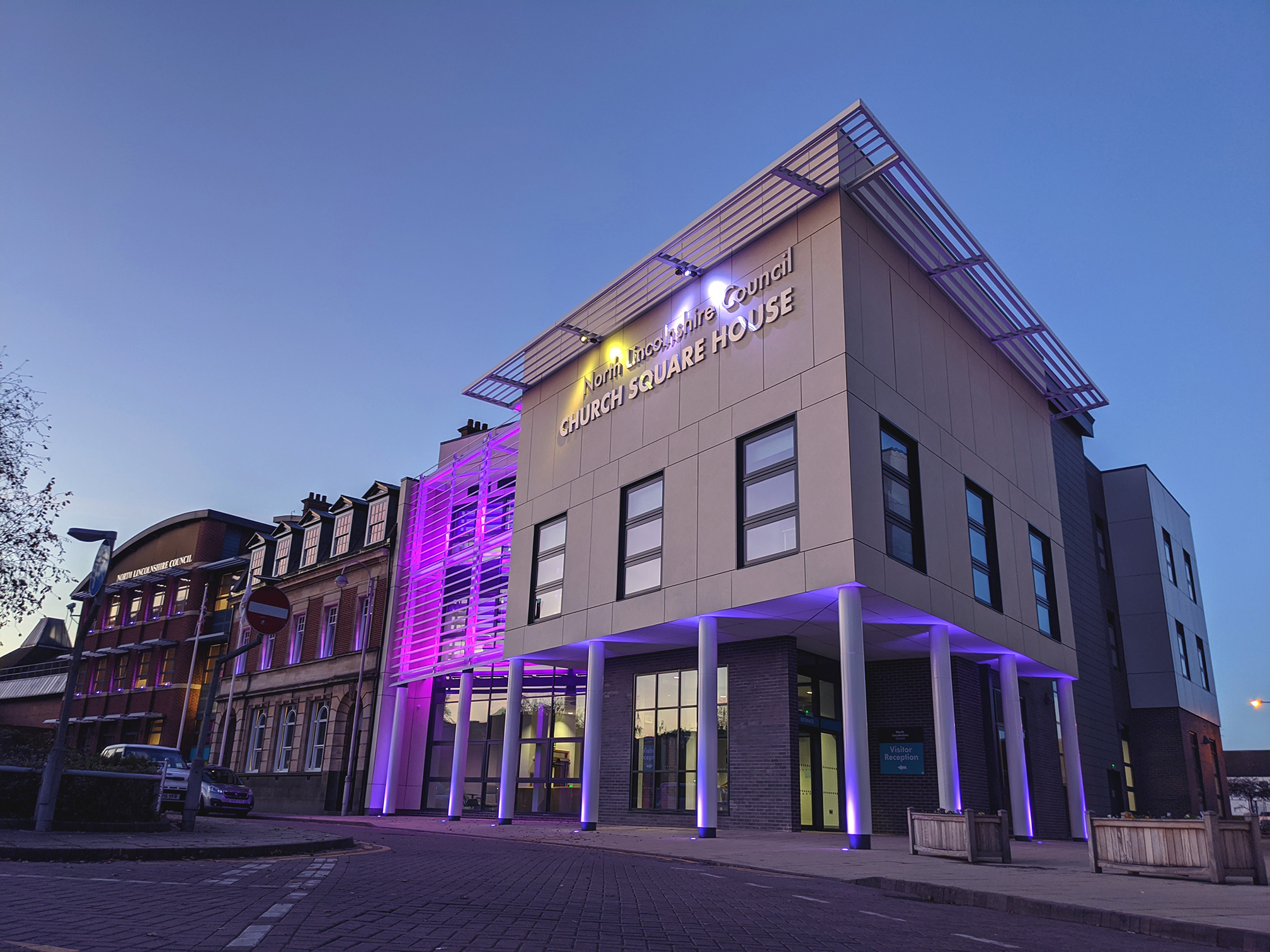 Church Square House purple for pancreatic cancer awareness month