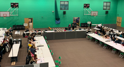 Counters at The Pods for the General Election 2019