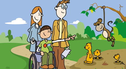 Illustration of child in wheelchair with family