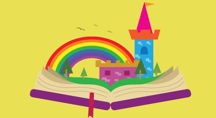 Open book with a castle and rainbow in the background