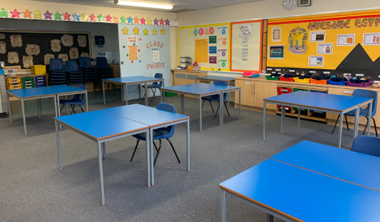 Socially distanced classroom at Berkeley Primary School