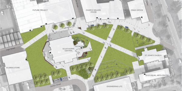 Artist impression of the urban park at Church Square, Scunthorpe