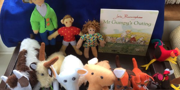 Collection of handsewn toys and figures from the book Mr Gumpy's Outing