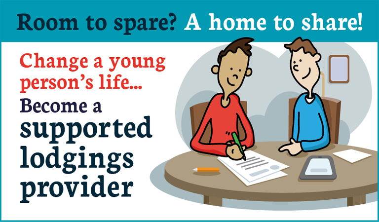 Illustration of an adult helping a young person complete a form