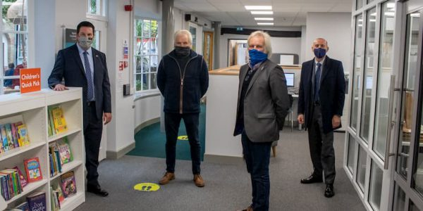 Andrew Percy, Cllrs Sherwood, Rob Waltham wearing masks in the new Brigg Community Hub at the Angel