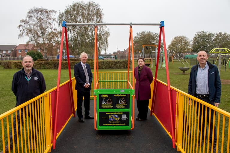 New swing helps disabled children play in the park