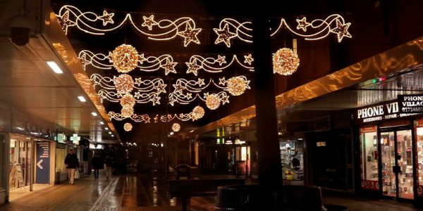 Street scene with Christmas lights