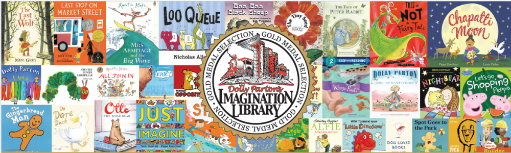 Imagination library logo with books