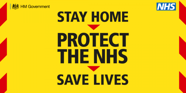 Yellow graphic stating Stay HOme, Protect the NHS, Save Lives