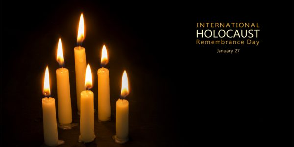 Photograph of candles to mark Holocaust Memorial Day