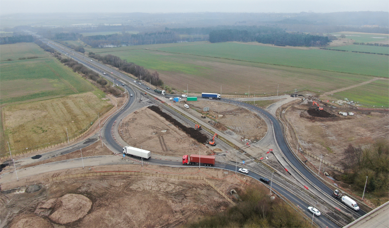 Aerial photograph of the M181 junction