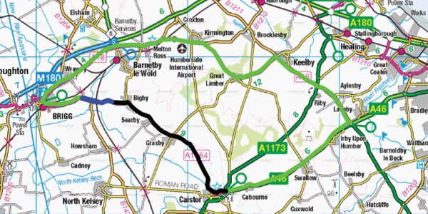Map of A1084 road between Brigg and Caistor