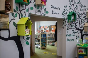 Photograph of the children's library at the Ashby Hub