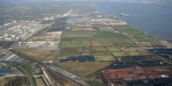 Aerial shot of industry along south bank of Humber estuary