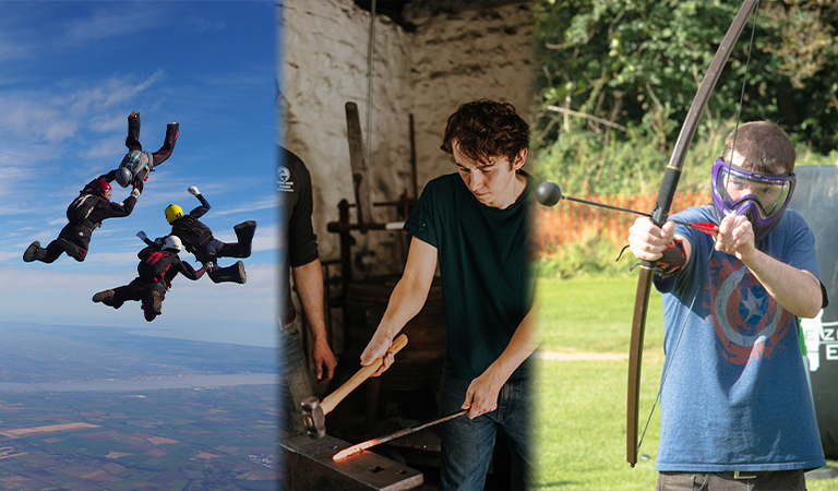 Photograph of people enjoying skydiving, smithing and archery in North Lincolnshire