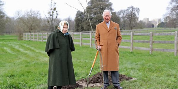 Photo of the Queen and Prine Charles next to a newly planted oak sapling (Pic: PA)