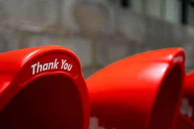 Close up of a red bin