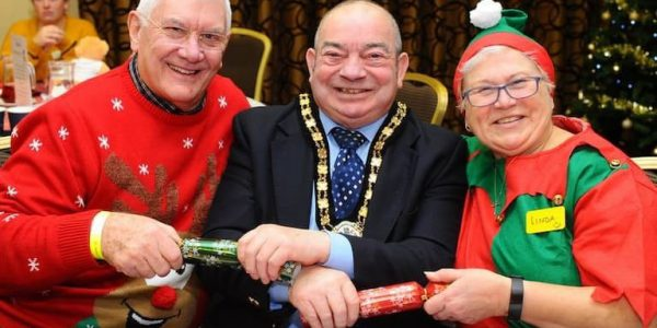 Mayor of NL Cllr Peter Clark with fundraiser John Hayes for the Sunflowers Children's Action Group (WEB)