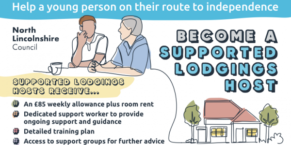 Supported Lodgings illustration showing an adult talking to a 16-24 year old