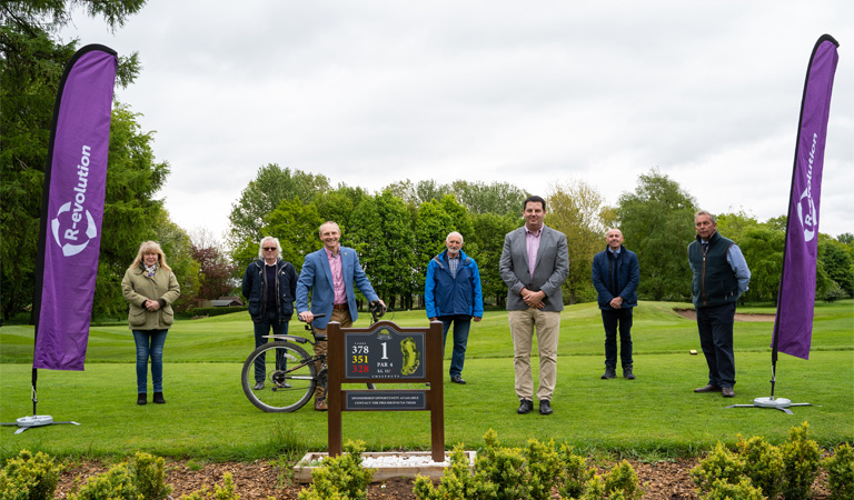 Photograph of launch of the bicycle donation station at Normanby Hall Golf Course