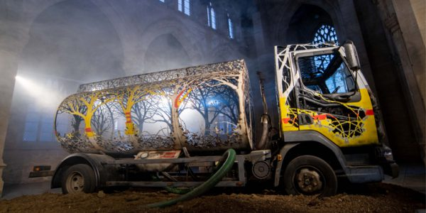 Photograph of the reclaimed oil tanker, centrepiece of Dan Rawlings' new exhibition. Picture by Mark Bickerdike