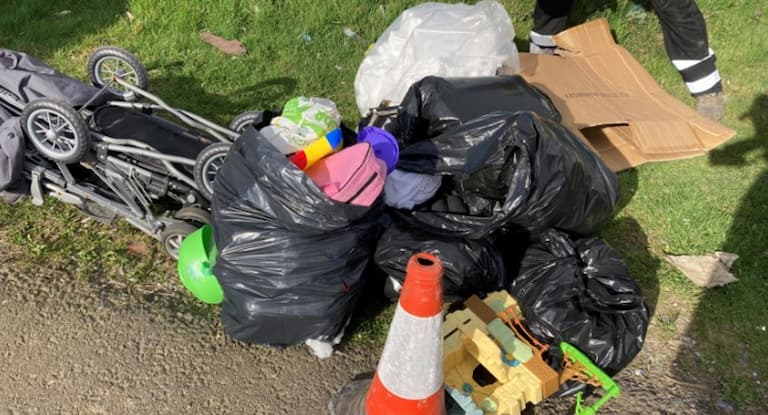 Fly-tippers fined for dumping in street and car park