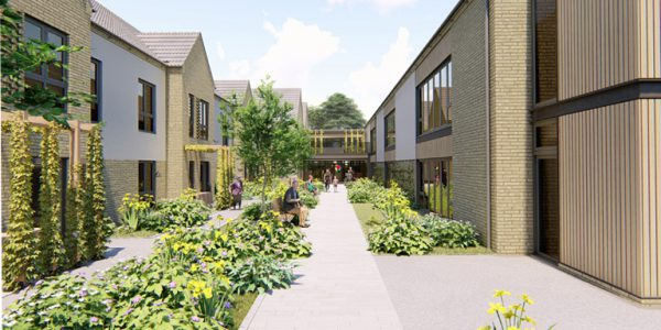 Design image of Myos House - courtyard leading to multiple apartments.