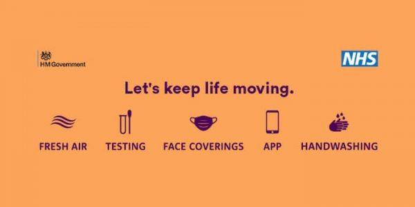 Let's keep life moving - NHS orange web banner