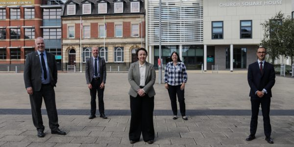Holly Mumby-Croft, MP for Scunthorpe, pictured with Cllrs Rob Waltham and Julie Reed