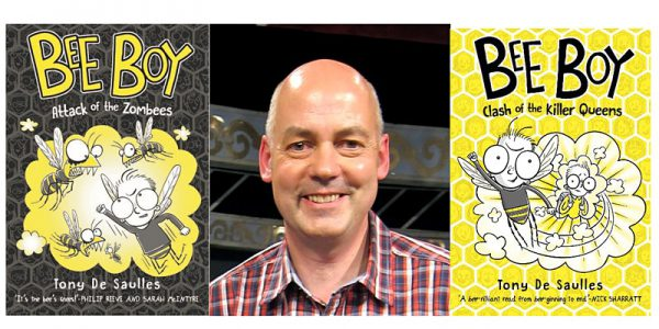 Composite photo of Tony de Saulles with front covers of two of his Bee Boy books