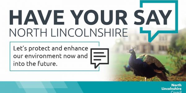 Graphic with photo of a peacock urging people to have their say on green future of North Lincolnshire