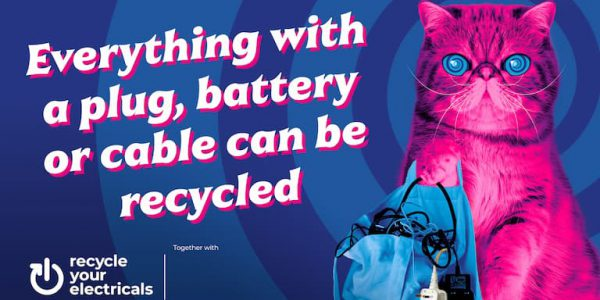 Graphic of a pink cat (HypnoCat) telling people to recycle small electrical items