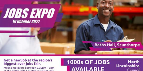 Graphic with a photo of a man in a warehouse advertising the Jobs Expo