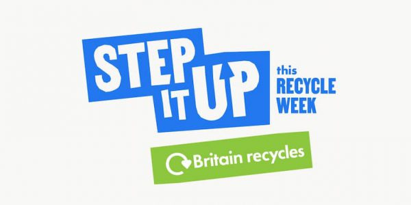Blue and green logo telling people to Step It Up for Recycle Week