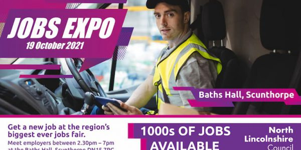 Photo of a van driver and advert for North Lincs Jobs Expo