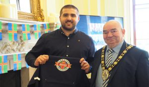 Head Chef Kieran Mitchell of The George, Kirton in Lindsey, pictured with the Mayor of North Lincolnshire, Cllr Peter Clark