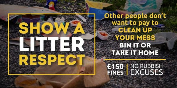 Photo of litter with the words 'Show a Litter Respect' warning of £150 fines